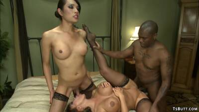 Shemale in interracial ffm 3some