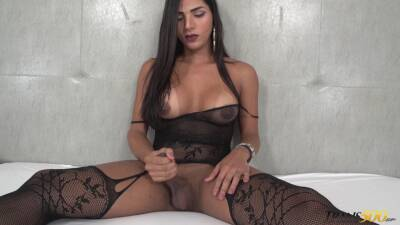Tranny in sexy fishnets Drika Lima is jacking off hard dick