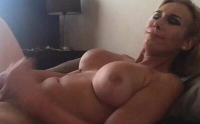 Sexy Blonde Trans Cums On Her Stomach