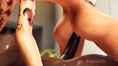 A hot blonde gets fucked by 3d alien dickgirls in the space sation