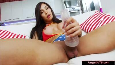 Busty Shemale Kalliny Nomura Fucks A Toy And Jerks Big Cock