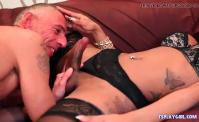 Perverted mature guy and horny Shemale