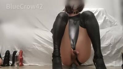 Crossdresser anal masturbate with many dildos and cum 3 times like fountain