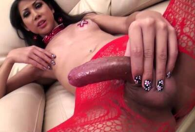 Ladyboy Lisa Strokes In Front Of Camera