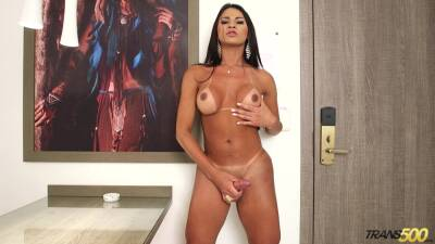 Lewd tranny with big ass Erika Lee is jacking off cock
