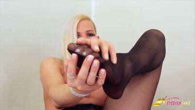 TGirl Jamie French playing with his dick in black pantyhose