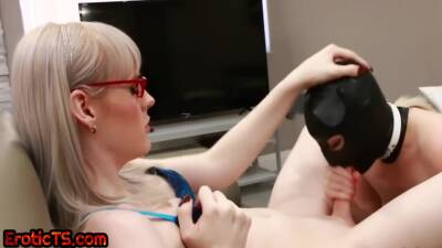 Dominant Ts Mistress Blown By Gimp After Pussy Fingering