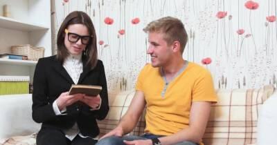Delightful brunette girlfriend Zoey Foxx flirts with a hunk